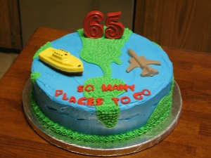 65th Travel Birthday Cake
