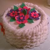 Cake with Basket Weave and Fondant Flowers