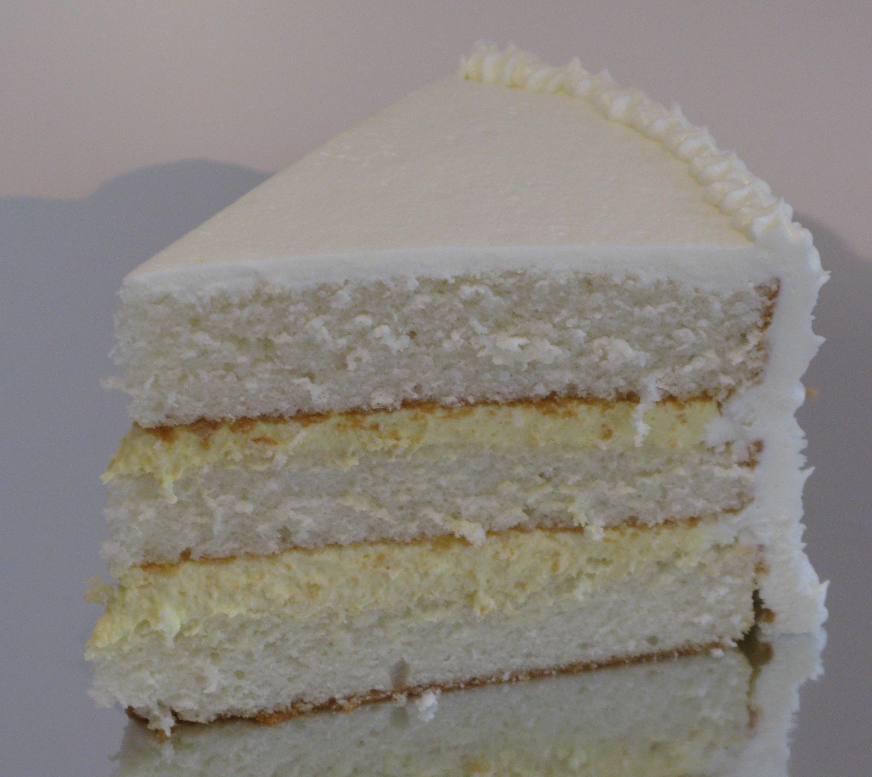 White Almond Cake With Bavarian Cream Filling And White