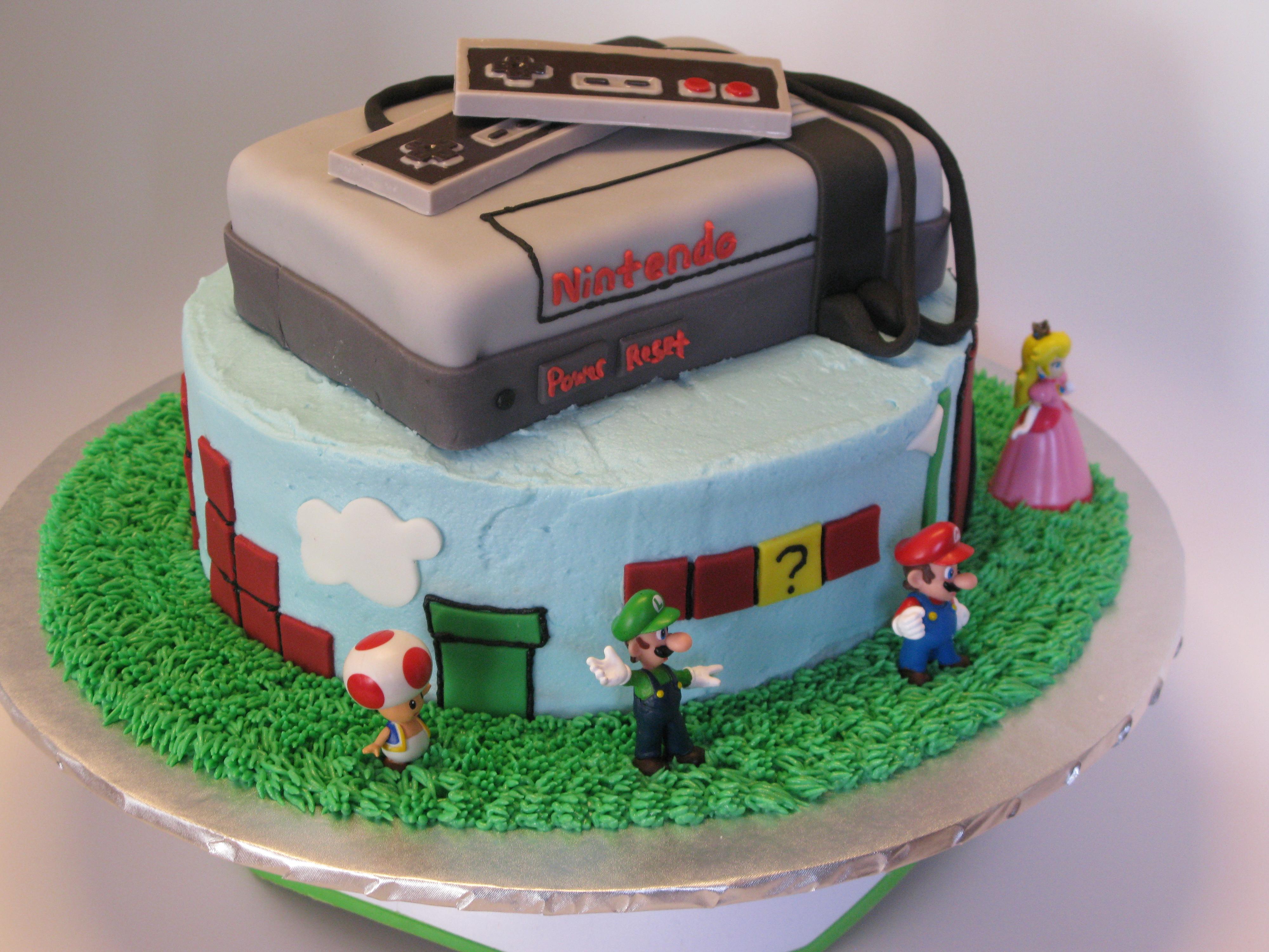 Magnificent Nintendo Super Mario Brothers Cake Personalised Birthday Cards Veneteletsinfo